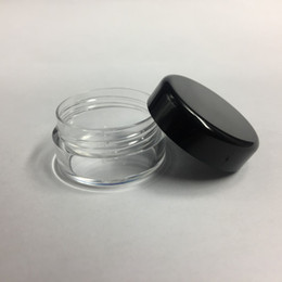 Jarras claras vacías online-5G 5ML de Alta Calidad Vacío Tarro de Contenedor Claro Olla con Tapas Negras para Maquillaje en Polvo Loción Crema Bálsamo Labial / Brillo Muestras de Cosméticos 1000 unids / lote