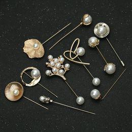 Broche de perlas individuales online-Moda mujeres grandes broches señora copo de nieve de imitación perlas Rhinestones perla de la boda broche solo Pin broche de joyería de accesorios
