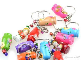 painting brass Coupons - Practical Mini Gift Keys Chain Cartoon Characters Hand Painted Wooden Russian Doll Key Buckle Cute Puppet Charm Pendant Keyring 0 9tw cc