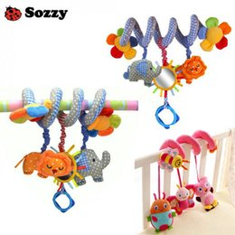 Wholesale Baby Toy Mirrors - Wholesale- Sozzy New infant Toys Multifunction Lovely Baby Crib Hanging Toys Music Rattles Safety Mirror Infant Bed Revolves Plush Toys