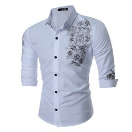 Wholesale Dress Shirt Mens Clothing - England Style Mens Dress Shirts Fashion Floral Embroidery Business Shirts Cotton Long Sleeved Tops Plus Size Clothing