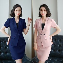 Wholesale Summer Suits For Women - 2018 Summer 2 pieces Formal Office Skirt Suit with Short Sleeve Jacket +Skirt for Women Career Uniform HPZ-SY-6839TQ