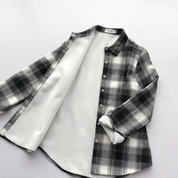 Wholesale Thickening Plaid Shirt - winter autumn women thicken plaid shirts warm 100% cotton fleece bottoming blouse tops quality