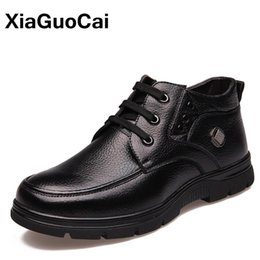 Wholesale Cowboy Footwear - XiaGuoCai Genuine Leather Warm Men's Winter Boots Rubber Ankle Boots Waterproof Snow Boots High Top Big Size Male Footwear