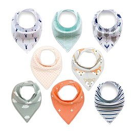 Wholesale baby gift packing - Baby Drool Bibs Organic Absorbent Cotton Bibs for Drooling and Teething Feeding Gift Set for Boys Girls Baby Shower Gift Burp Cloth 8-Pack