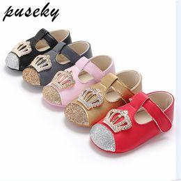 Puseky Spring Autumn Kids Princess Shoes For Girls Children Girl Wedding  Shoe Gold Black Crown Sequins Baby Waterproof Footwear b3cdb8f90798