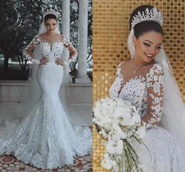 2019 New Luxury Modest Mermaid Abiti da sposa Sheer Neck Maniche lunghe Piena di pizzo Appliqued Perline Abiti da sposa Sweep Train Abiti da sposa da
