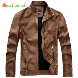 Wholesale Yellow Color Wool Winter Coat - Wholesale- ACTIONCLUB Waterproof Autumn Winter Mens PU Leather Jacket Mens Brand Zipper Pocket Motorcycle Leather Business Casual Coats