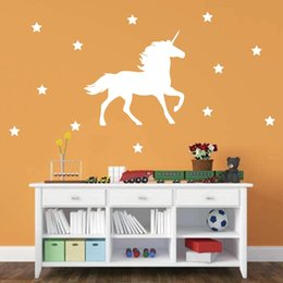 Wholesale Wall Stickers Horses - Fantastic fairy tale Unicorn Horse Vinyl Wall Decal with Stars Nursery Wall Stickers Decor , free shipping p2035
