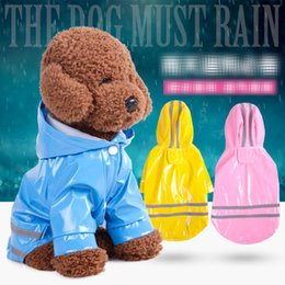 Wholesale rain puppy - 5 Color Hooded Pet Dog PU Reflection Raincoats Waterproof Clothe For Small Dogs Chihuahua Yorkie Rain coat Poncho Puppy Rain Jacket MMA293