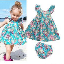 Wholesale Kids Sun Dresses - Fashion summer infant baby girl ruffle floral dress sun derss+brief 2pcs set kids baby girls outfits clothes set