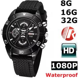 Wholesale Free Watch Video - New 32GB 16G 8G 1080P CCTV Waterproof HD Spy Watch Camera DVR Night Vision Waterproof Hidden Video Cam Free Shipping Drop-shipping