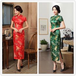 Impression de photos chine en Ligne-Au printemps 2018 Chine longue robe de cheongsam col brocart ancien impression de vent ancienne
