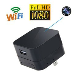 Wholesale Wireless Charger Ac - New Wireless Wifi HD 1080P AC Adaptor plug spy Cam wall charger US plug hidden cameras DVR Motion Detection Home Security Camera