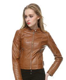 mulheres jaqueta de couro falso marrom Desconto Moda Feminina Elegante Zipper Faux Leather Jaqueta Jaqueta em Marrom Preto Fino Casaco de Senhoras Casuais Marca de Couro Da Motocicleta casaco