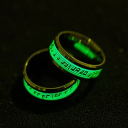 piano accessories Promo Codes - Fashion Jewelry Piano Music Luminous Glow Ring Explosion Musical Note Fluorescence Accessories Gift