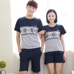 couple pajamas set summer short sleeve sleepwear men and women tracksuit  big size pyjamas 7699eb93c