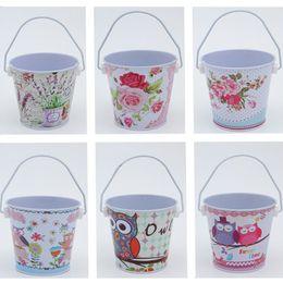 Wholesale Galvanized Metal Buckets Wholesale - 12pcs Owl,Flower Print Metal Planter Small Galvanized pot garden bucket Mini Tinplate Pots Garden Supplies