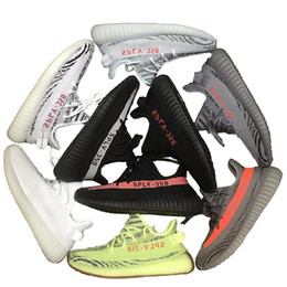 Wholesale Tinted Pvc - 2018 Blue Tint 350 V2 Running Shoes triple white black grey Men Women 350s Zebre Oreo Bred casual Shoes Sports Sneakers 36-45