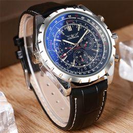 Wholesale Jaragar Luxury Auto Mechanical Watches - JARAGAR Luxury Men Watches Blue Mineral Glass Sport Leather Auto Mechanical Wrist Watch Week Date Hour New Arrival