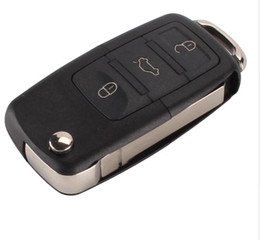 Teclas vw online-3 botones Plegable Car Remote Flip Key Shell Funda Fob para VW Passat Polo Golf Touran Bora Ibiza Leon Octavia Fabia