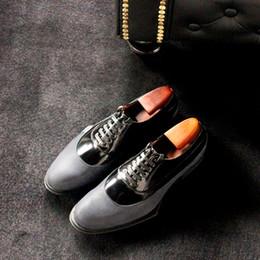 Zapatos de cuero hechos a mano inferiores grises oscuros Zapatos de negocios formales hechos a mano de los hombres desde fabricantes