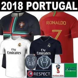Wholesale Flash Football - 2018 2019 World Cup Portugal Soccer Jersey CR7 Shirt Ronaldo 18 19 New Real Madrid Kroos Bale Sergio ASENSIO ISCO Champions League Football