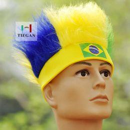 bandiere brasiliane Sconti Fan Flag Wig 2018 Russia World Cup Flag Parrucca Poliestere Calcio Fan di calcio Head Wig Caps Revelry Inghilterra Brasile Australia Svezia 54 * 5.5cm