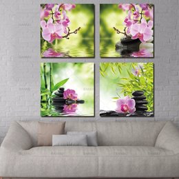 Wholesale Zen Wall - BANMU canvas painting decorative picture Butterfly Orchid Flower Zen Stones Wall Art Bamboo Print on Canvas Modern Art Wall