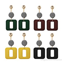 Wholesale new nail trends - Korea New Pattern Fashion Trend Personality Concise Earrings Geometry Square Lattice Package Cloth Tassels Earrings Ear Nail
