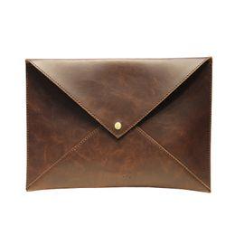 Wholesale christmas files - Vinatge Men Leather Envelope Clutch Bag Male A4 Felt File Folder Durable Briefcase Document Bag Travel Clutches