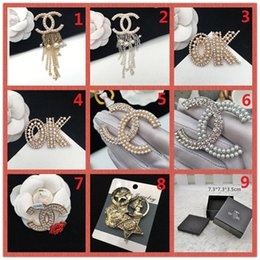 Wholesale american gemstones - TOP!Fashion Brand 14K Gold Silver Brooch Pearl Diamond Corsage Classic Designer Letter Logo Collar Pin Party Wedding Jewelry AAA11