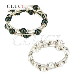 Wholesale Pearl Bracelet Designs - CLUCI Special Design of 1 Piece 18KGP Silver Plated Black White Shell Pearl Adjustable Bracelet for Women, free shipping