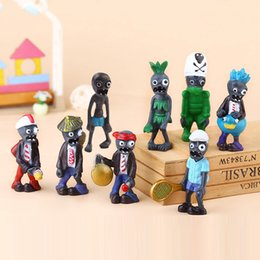 Wholesale zombies figures - 8pcs set Mini Plants vs Zombies figure Action Figures kids Toys Doll cartoon Micro Land model Figures gift Novelty Items FFA500