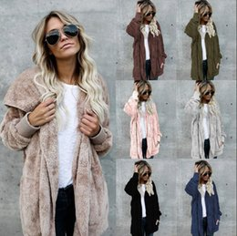 Wholesale Fleece Hoodie Women Warm - Women Sherpa Sweatshirt hoodie long sleeve fleece soft winter cardigan adorable warm women fashion coat Winter Hooded Coat KKA4002