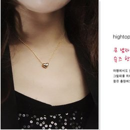 Wholesale Womens Stainless Steel Heart Necklace - New Pretty Gold-color Heart Womens Bib Statement Chain Jewelry Pendant Necklace