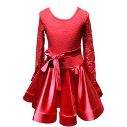 Wholesale Latin Dance Costume Women - New children Kids Girl Latin dance dress Black Red Long Sleeve Lace chacha tango ballroom costumes Practice Dance Dress Competition clothing