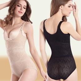 Wholesale wholesale pull ups - Thin Body Shaper Women Slimming Shapewear Elastic Adjustable Waist Corset Breathable Breast Push Up Bodysuit Crotchet Pulling Underwear
