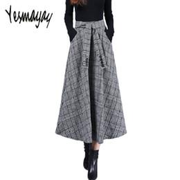 Lange Maxirock für Frauen Warme Wolle Herbst Winter Vintage Hohe Taille  Plaid Rock Plus Größe A-Linie Elegante Röcke 2018 Jupe c101d21811