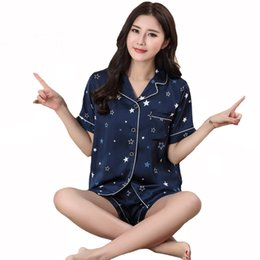 Lady Casual Ensemble de vêtements de nuit Sexy Satin 2PCS Strap ShirtShorts Bleu Elegant Home Wear Nobles Pyjamas Summer Women Vêtements de nuit M-XXL ? partir de fabricateur