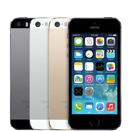 Wholesale Wholesale Refurbished Mobile Phones - Refurbished Apple iPhone 5S Unlocked iPhone5s i5S Mobile Phone Dual-core iOS 8 16G 32G 64G With Touch ID 3G WCDMA Bluetooth WIFI Cellphone