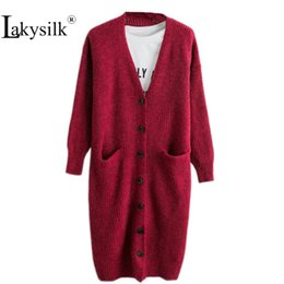 cotton knit cardigan plus size Promo Codes - [Lakysilk] Loose Plus Size Red Casual Women Long Cardigans V-Neck Knitted Cotton Female Solid Color Winter Sweaters Autumn 2018