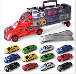 Wholesale Toy Models Cars Trucks - 20PCS  1:18 Scale Diecast Metal Alloy Car Model Pull Back Toys Car Model Children Simulation Container Car 12pcs inside Super Power Truck