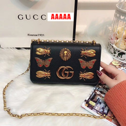 Wholesale Bow Cross Body Bag - New Luxury GuccX designer Handbags New animal lion inset Shoulder Bag Crossbody Bags high quality PU rivet Purse lady women wallet 180111005