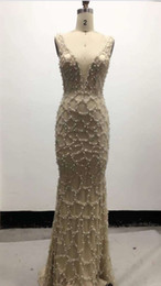Wholesale Plus Size Silver Cocktail Dresses - Custom Women's Long Beaded Mermaid V-Neck Prom Dresses 2018 Floor Length Sexy Backless Champagne Middle East Evening Gowns