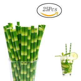Wholesale print colored paper - 25pcs   100pcs Green Bamboo Printed Paper Straws Birthday Party Wedding,Hawaiian Jungle Luau Colored Paerned Mason Jar Straws