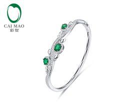 14kt ювелирные изделия из белого золота онлайн-CaiMao Natural 1.28 ct Emerald 14KT/585 White Gold 1.12 ct Round Cut Diamond Jewelry Bracelet Gemstone