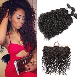 Wholesale Nature Weave - Brazilian Water Wave Hair Bundles With Ear To Ear Lace Frontal With Baby Hair 4Pcs Lot Wet Wavy Human Hair Weaves Nature Color