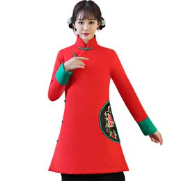 Wholesale Chinese Cotton Padded - New Red Female Cotton-Padded Jacket Coat 2018 Winter Embroidery Floral Long Outwear Chinese Ethnic Thick Blouse S-XXL