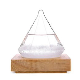 Wholesale fairy display - Diamond Storm Glass Crystal Weather Forecaster Meteorological Display Glass Home Desktop Decor with Wood Base Small Logo Free YW358